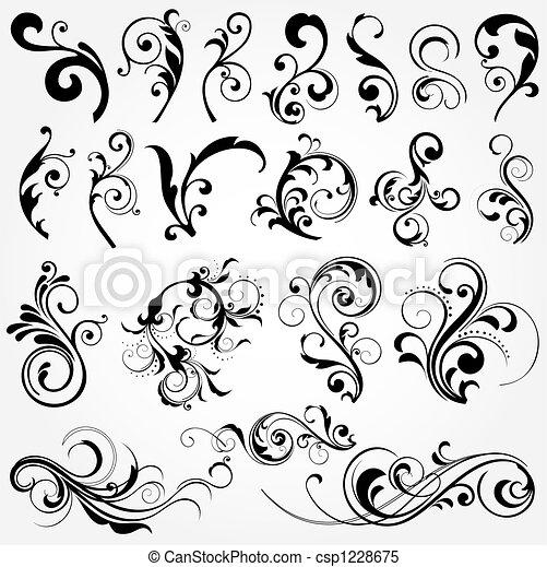 floral elemente, design - csp1228675