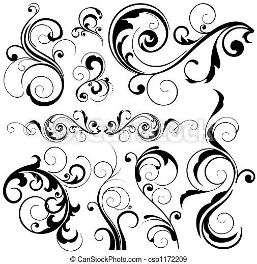 floral elemente, design - csp1172209