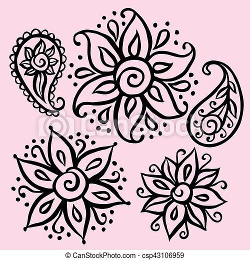 floral, elementos decorativos - csp43106959