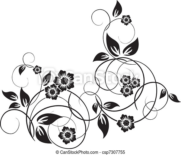 Floral elements for design, vector - csp7307755