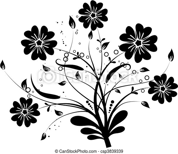 Floral elements for design, vector - csp3839339