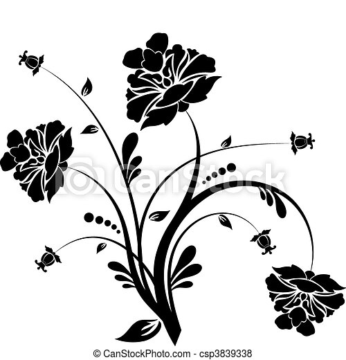 Floral elements for design, vector - csp3839338