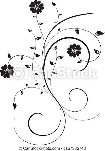 Floral elements for design, vector - csp7335743