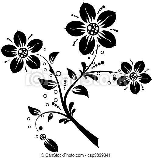 Floral elements for design, vector - csp3839341