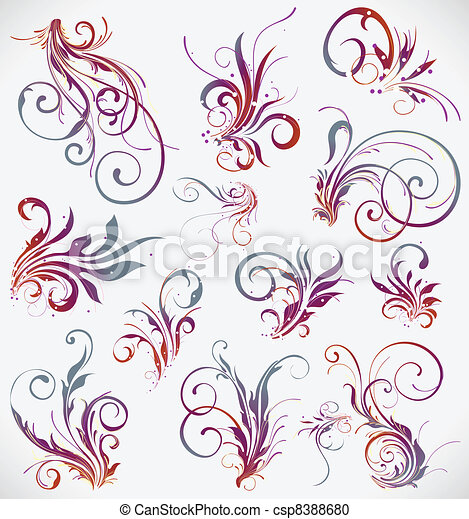 floral elements vector design collection - csp8388680