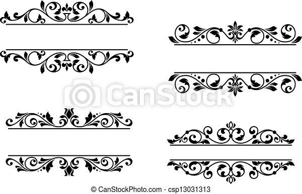 floral, en-tête, cadre, éléments, retro - csp13031313