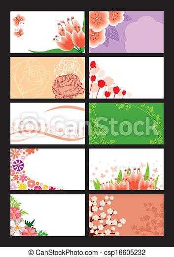 floral, ensemble, carte - csp16605232