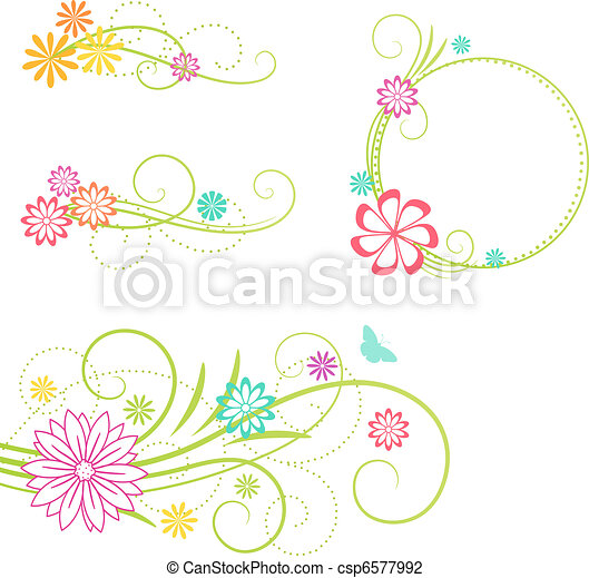 floral entwurf, elements. - csp6577992