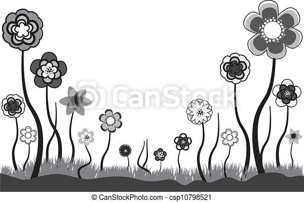 Hermosa ilustración floral de las flores de verano o primavera. Estas flores están en tonos de gris, blanco y negro. El espacio blanco puede ser usado para cualquier texto. - csp10798521