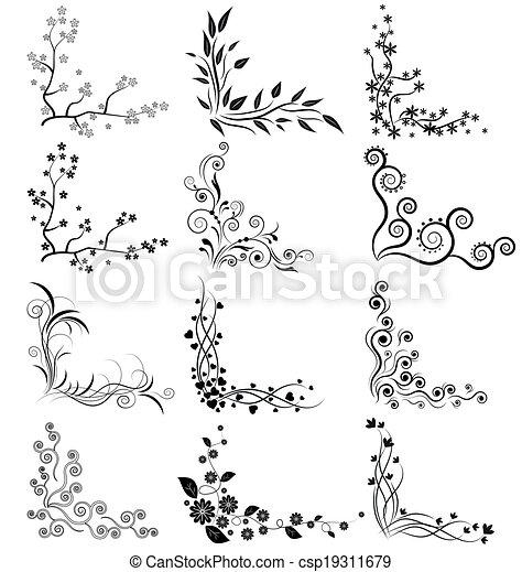 Vector Set De Esquinas Florales Vector De Esquinas Florales