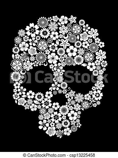 El cráneo humano al estilo floral - csp13225458
