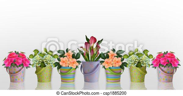 floral, fleurs, frontière, récipients, coloré - csp1885200