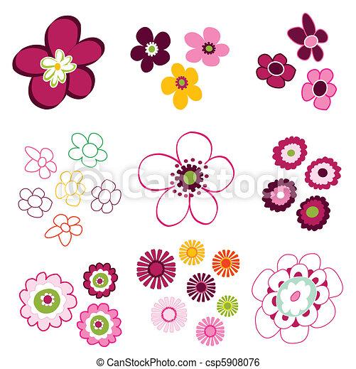 floral, flor, elementos - csp5908076