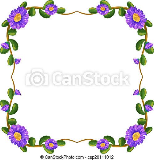 Un Margen Floral Con Flores Violetas Una Ilustración De Un