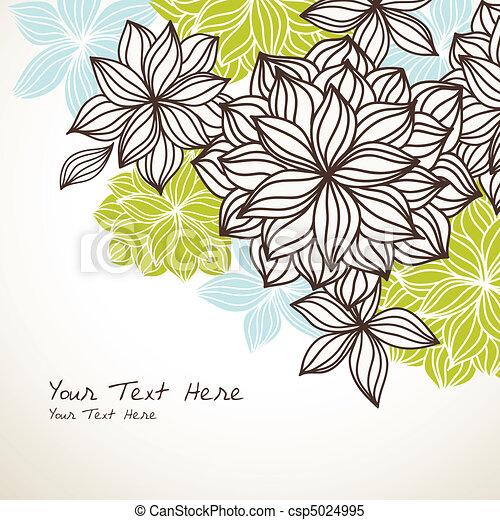 floral, fond, bleu, coin, vert - csp5024995