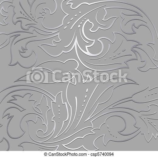 Trasfondo floral plateado. Vector - csp5740094