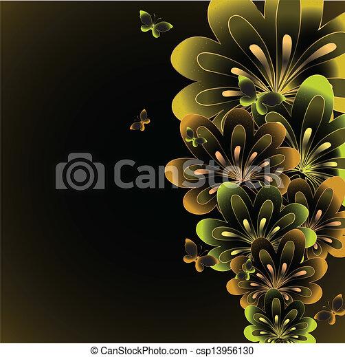 Extractos antecedentes florales. Vector - csp13956130