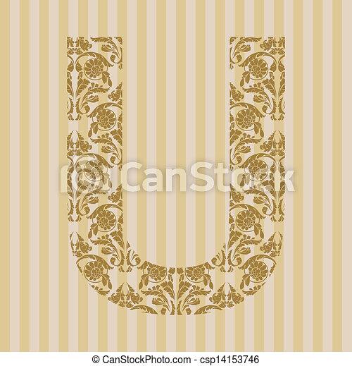 Floral Font Letter U Floral Font Ornament Letter On Decoration