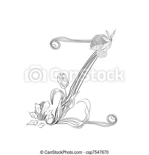 Floral Font Letter Z