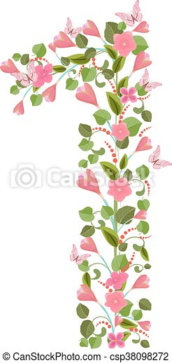 Floral font with spring pink flowers romantic number one floral font with spring pink flowers romantic number one csp38098272 mightylinksfo