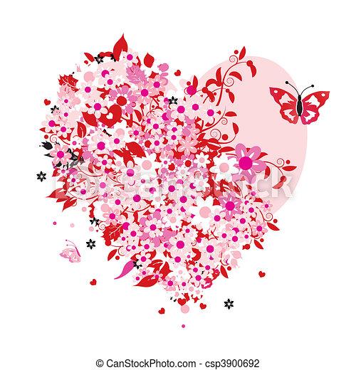 floral, forma coração - csp3900692