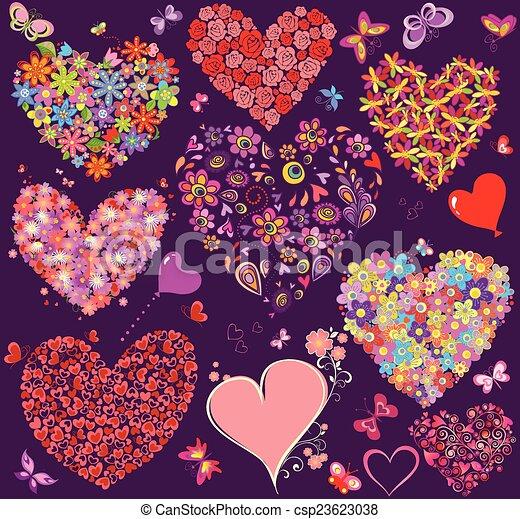 Un conjunto de forma de corazón floral - csp23623038