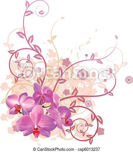 Floral frais fond orchid e rose tr s illustration illustration vecteurs rechercher - Dessin d orchidee ...