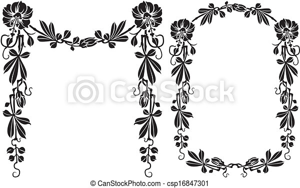 Floral Frame Black And White Flourish Frame And Border With