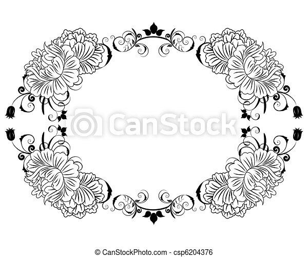 floral, frame - csp6204376