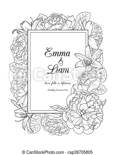 Floral Frame Design Wedding Invitation Card