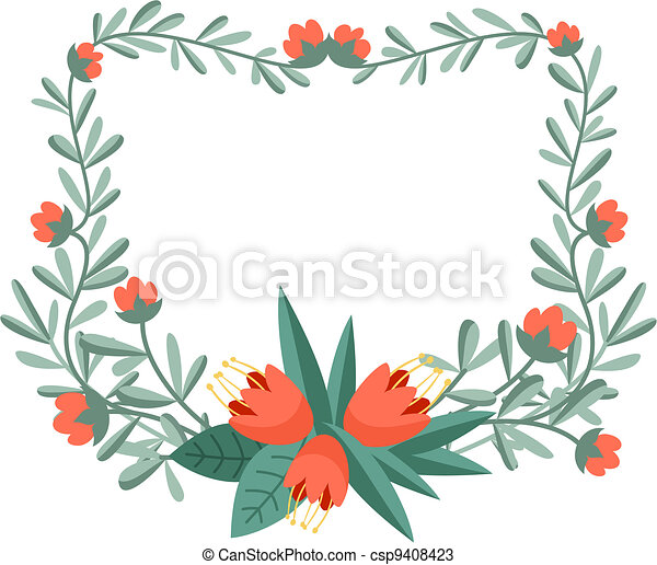 Floral frame for your design projects - csp9408423