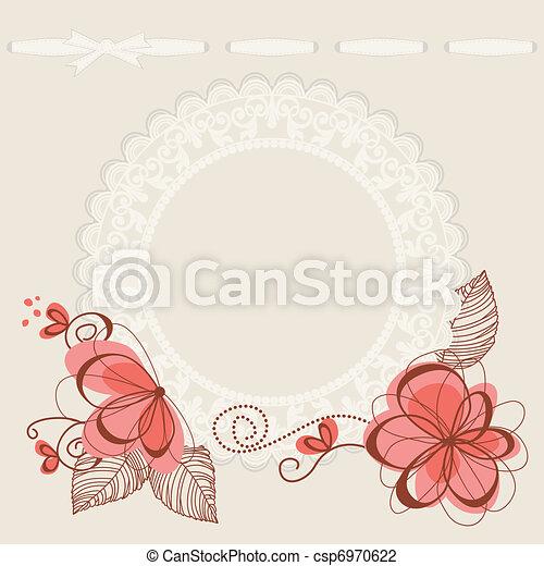 floral, frame, kant, achtergrond - csp6970622