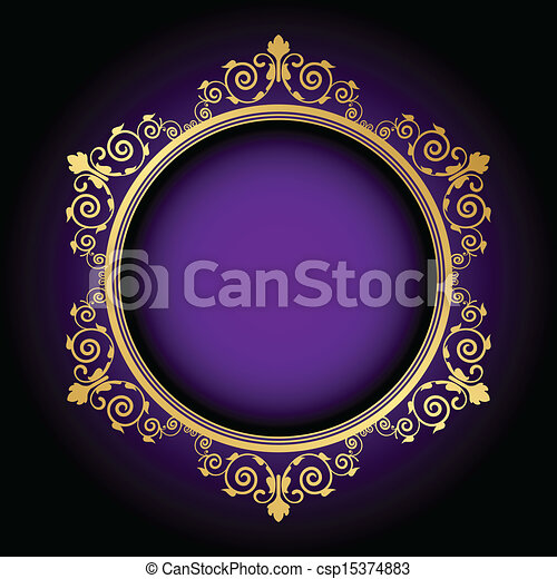 floral frame on purple background - csp15374883