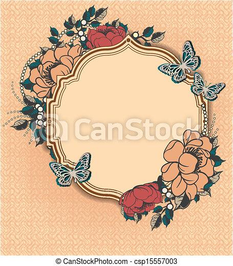 floral, frame, ronde, mal - csp15557003