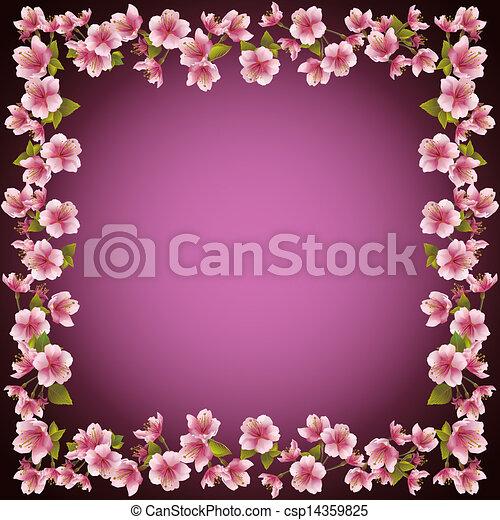 Floral Frame Sakura Blossom Background Vector Floral Decorative