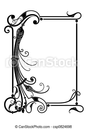 floral, frame, vector, decor - csp0824698
