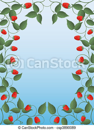 Floral frame with a raspberry - csp3890089