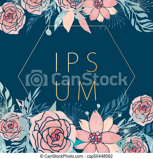 Floral Frame With Background   Csp50448062