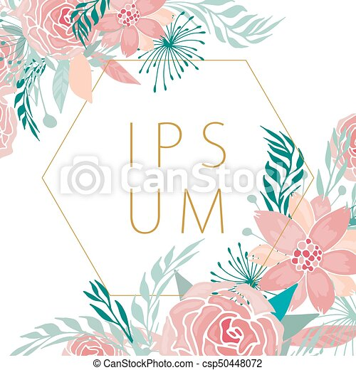 Floral Frame With Background   Csp50448072