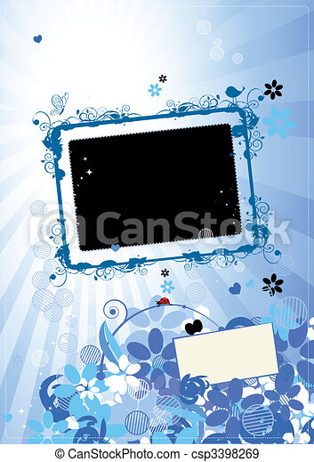 Floral frame with place for your text and photo - csp3398269