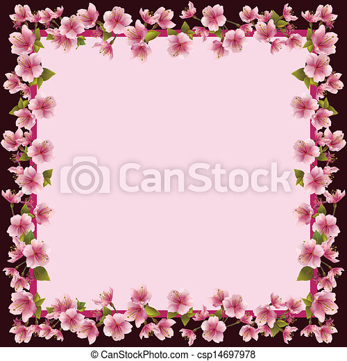 Floral frame with sakura blossom - japanese cherry tree - csp14697978
