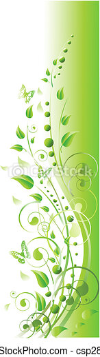 floral frame with swirls, butterfly and foliage in green - csp2875796