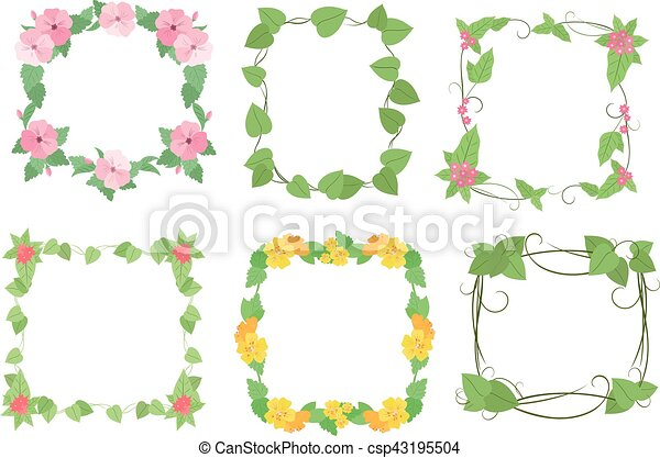 Floral frames with flowers. Floral frame collection vector ...