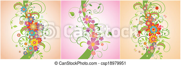 Un conjunto de fronteras florales - csp18979951