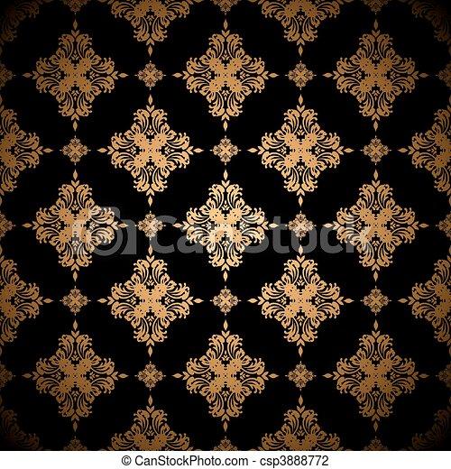 floral, gouden achtergrond - csp3888772