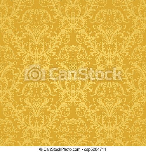 floral, gouden, behang, luxe - csp5284711