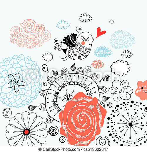 Connu Dessin de floral, graphique, aimer oiseau, fond - beau, amour  DP48