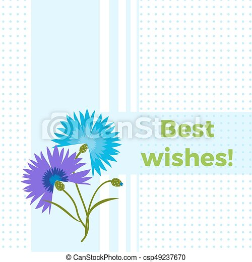 Floral greeting card best wishes with blue flower cornflower floral greeting card best wishes with blue flower cornflower or centaurea cyanus polka dot m4hsunfo