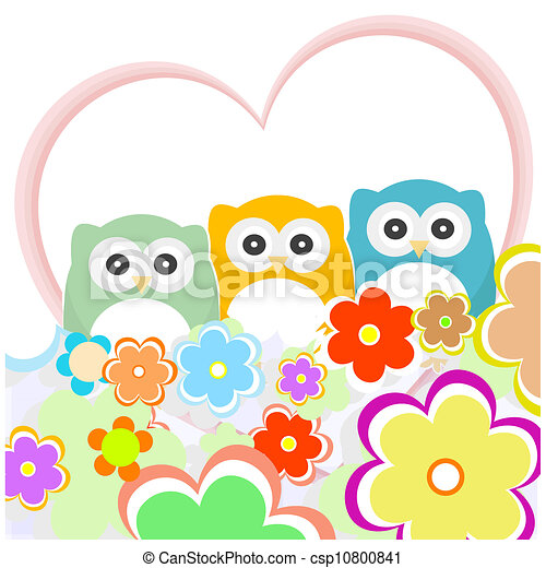 floral greeting card with owls - csp10800841