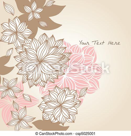 floral, griffonnage, couleur d'arrière-plan - csp5025001